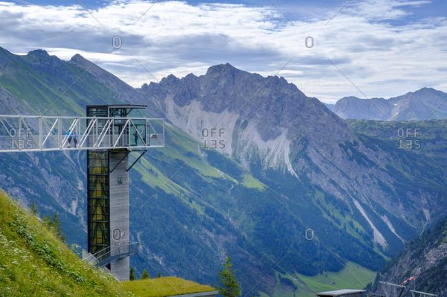Austria- Vorarlberg- Mittelberg- Skywalk overlooking scenic valley in Allgau Alps