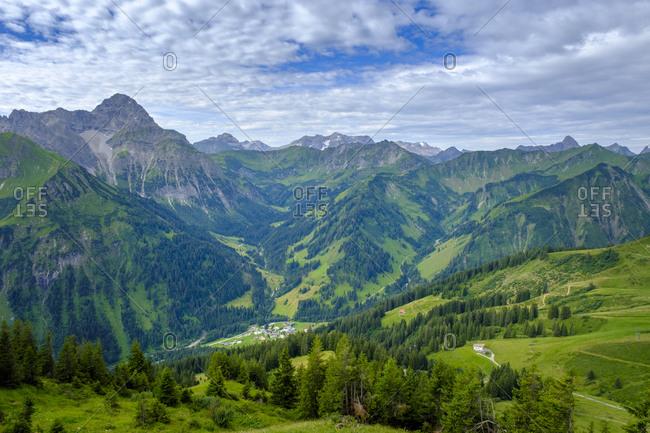 Austria- Vorarlberg- Mittelberg- Green scenic valley seen from top of Walmendinger Horn mountain