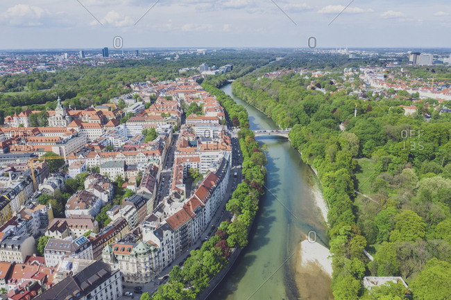 Germany- Bavaria- Munich- Aerial view of Isar river and old town of Munich in summer