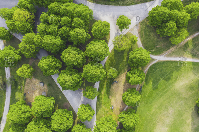 Germany- Bavaria- Munich- Aerial view of footpaths across Olympia park in summer