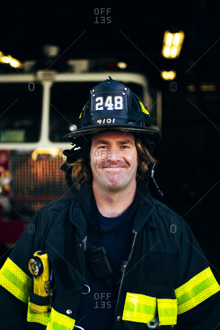 Portrait of confident firefighter- New York- United States