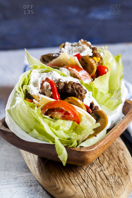 Low carb burgers with bun salad- roasted vegetables and tzatziki sauce