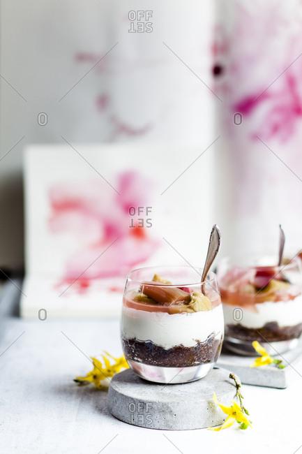 Glasses of rhubarb cheesecake