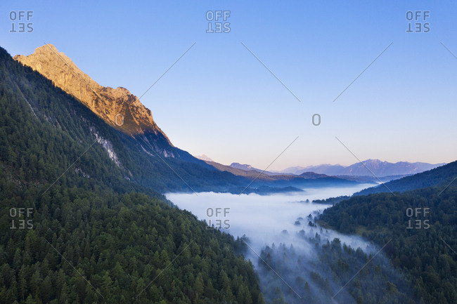 Germany- Bavaria- Mittenwald- Aerial view of Ferchensee lake shrouded in morning fog
