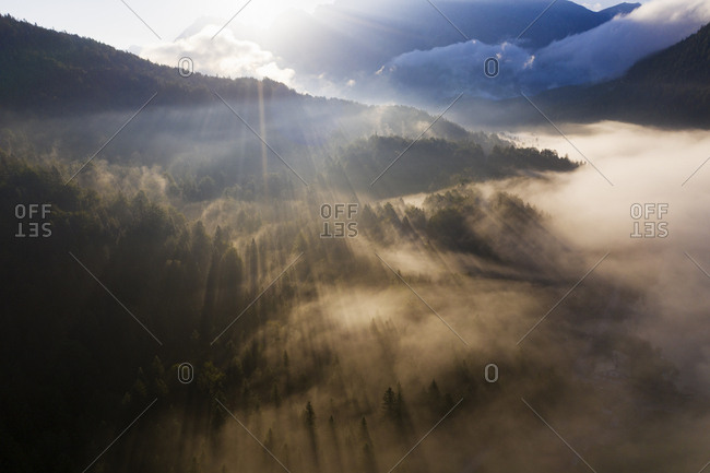 Germany- Bavaria- Mittenwald- Rising sun illuminating fog shrouding Ferchensee lake and surrounding forest