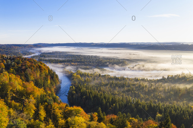 Germany- Bavaria- Upper Bavaria- Nature Reserve Isarauen- Aerial view of Loisach and Isar rivers at sunrise