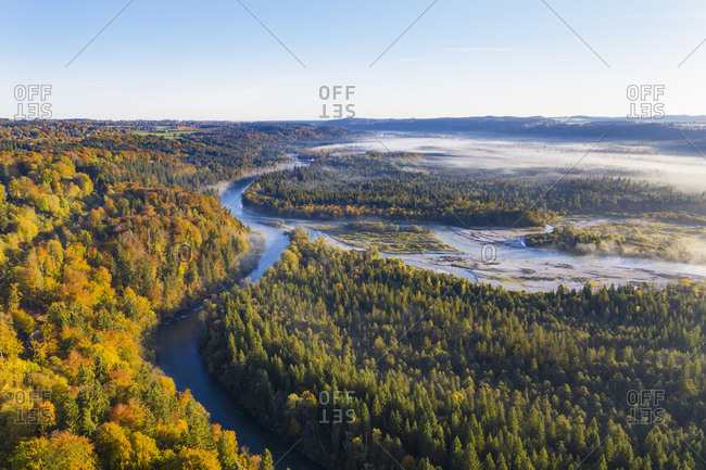 Germany- Bavaria- Upper Bavaria- Nature Reserve Isarauen- Aerial view of Loisach and Isar rivers