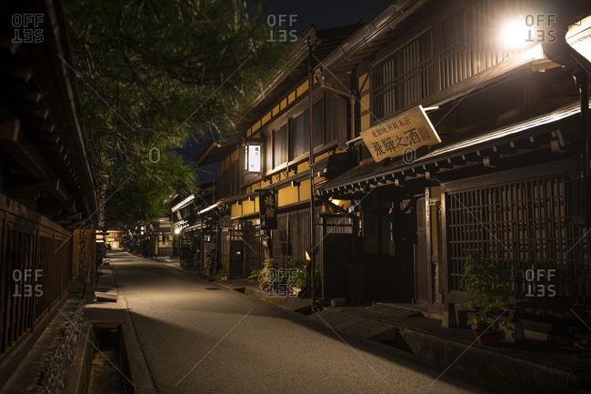 September 13, 2019: Japan- Takayama- Illuminated street of Japanese village at night