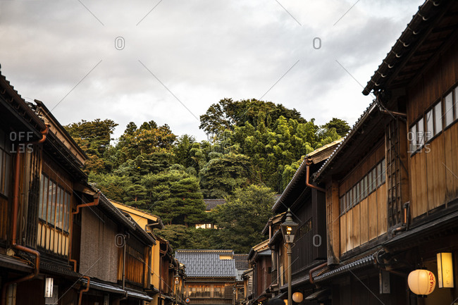 September 14, 2019: Japan- Ishikawa Prefecture- Kanazawa- Two rows of traditional Japanese houses