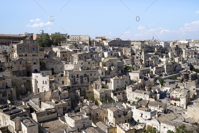 October 1, 2019: Italy- Basilicata- Matera- View of old town