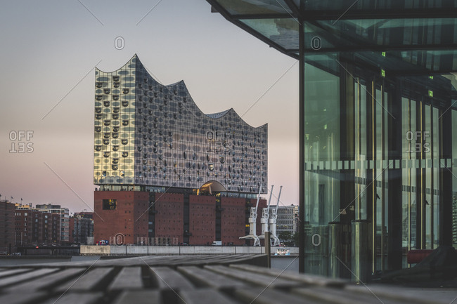 July 2, 2019: Germany- Hamburg- View from Stage Theater to Elbphilharmonie