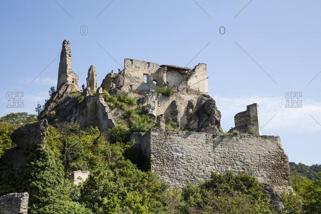 August 18, 2019: Austria- Lower Austria- Wachau- Durnstein- Durnstein castle ruins