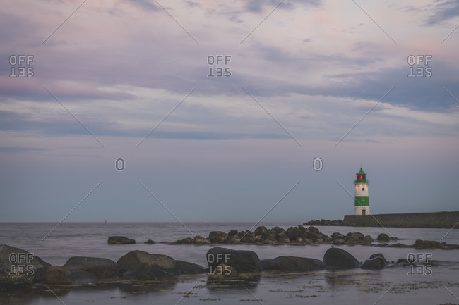 Germany- Schleswig-Holstein- Schleimunde lighthouse seen at dusk