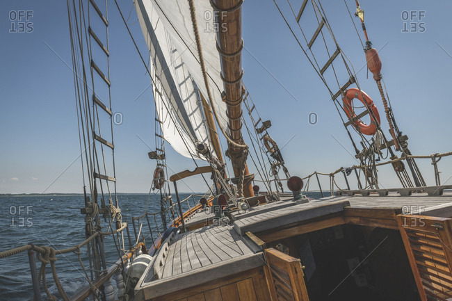 Denmark- Baltic Sea- Gaff schooner poop deck seen on peaceful day