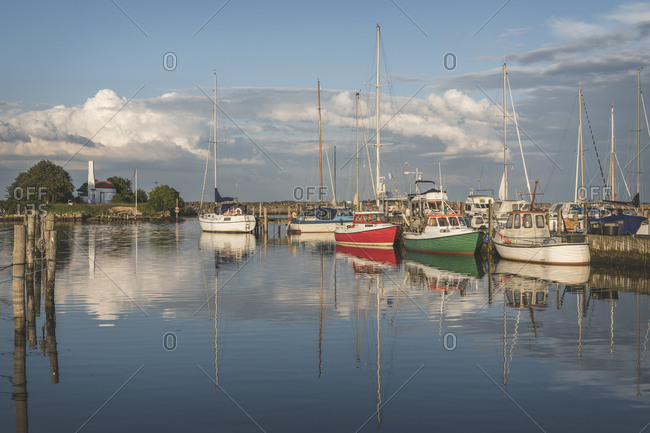 Denmark- Aeroe- Marstal- Fishing boats in marina seen from water
