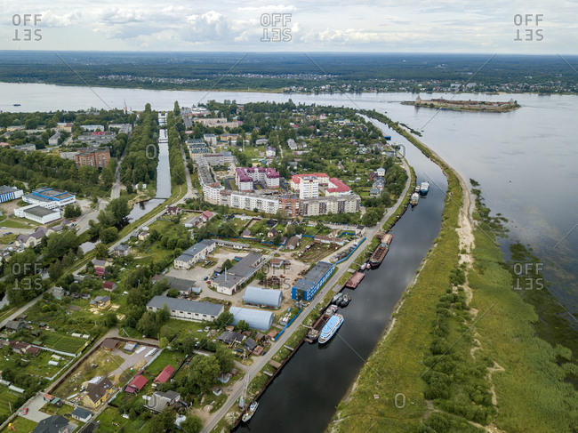 Aerial view of Neva river in town against cloudy sky- Shlisselburg- Russia