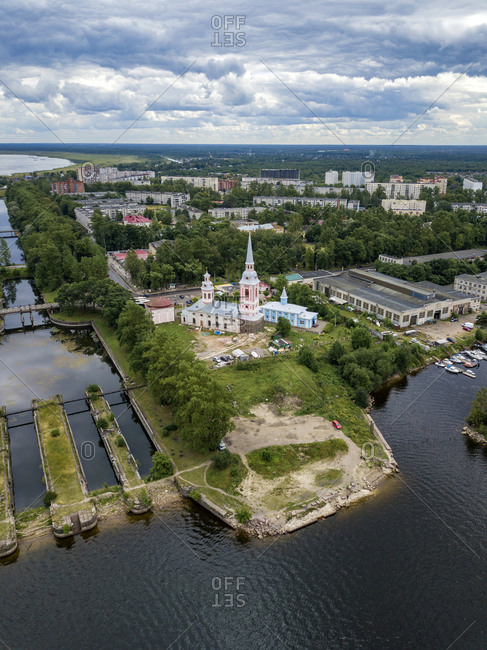 Aerial view of Annunciation cathedral by Neva river against cloudy sky in Shlisselburg- Russia