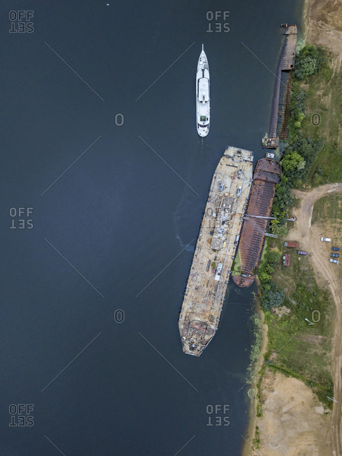 Aerial view of ship in Volga river at Moscow- Russia