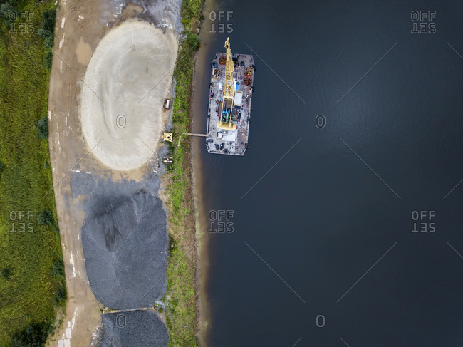 Aerial view of barge in Volga river at Moscow- Russia