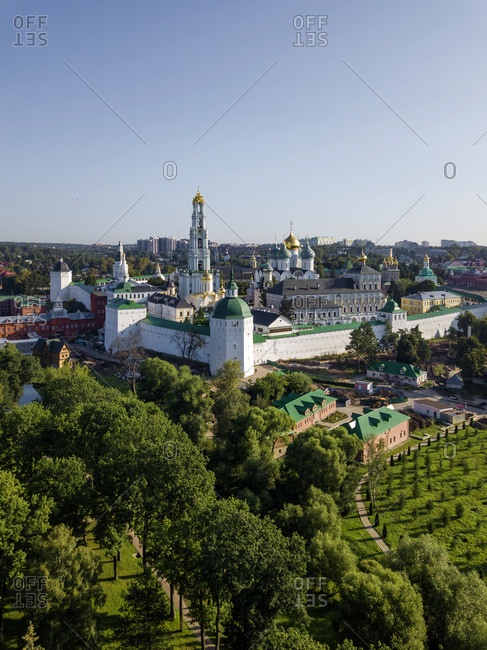 Trinity Lavra Of St. Sergius against clear sky in town- Moscow- Russia