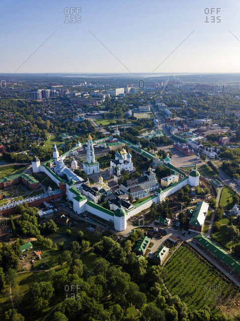 Drone shot of Trinity Lavra Of St. Sergius against clear sky in town- Moscow- Russia