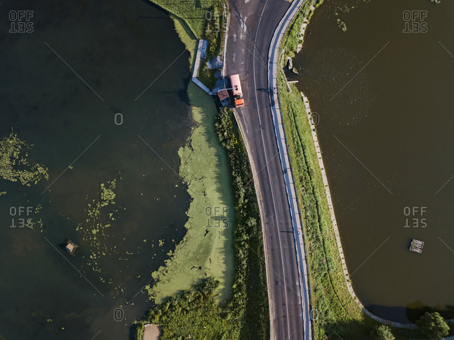 Aerial view of truck on road by river at Sergiev Posad- Moscow- Russia