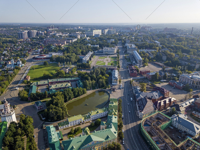 Aerial view of Sergiev Posad town against clear sky- Moscow- Russia