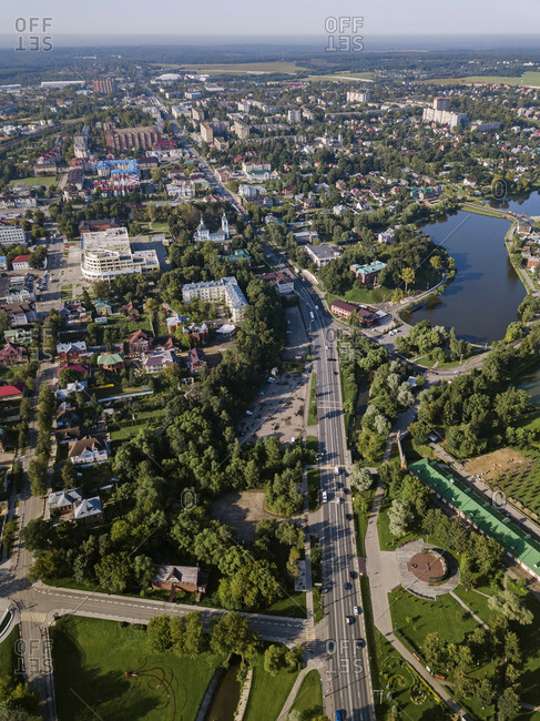 Drone view of Sergiev Posad town against clear sky- Moscow- Russia