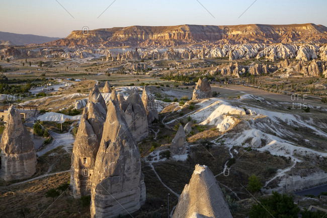 Scenic view of Goreme Open Air Museum against clear sky during sunset- Cappadocia- Turkey