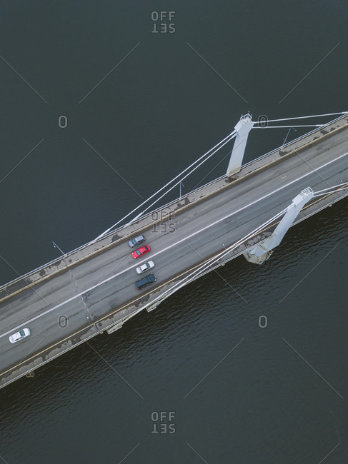 Aerial view of Bridge over Volga River- Moscow- Russia