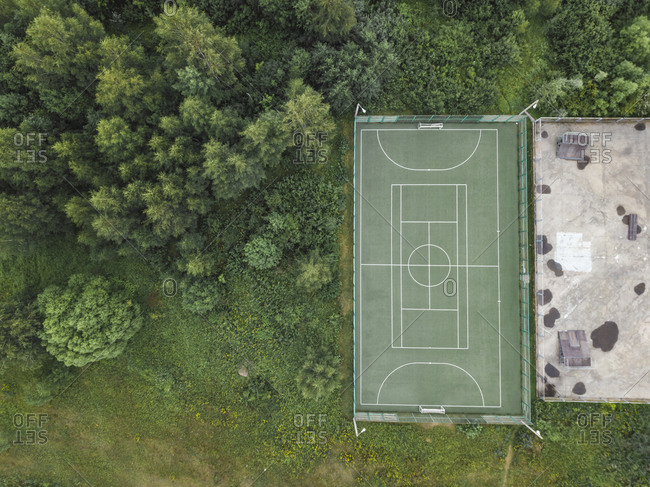 Aerial view of soccer field- Moscow- Russia