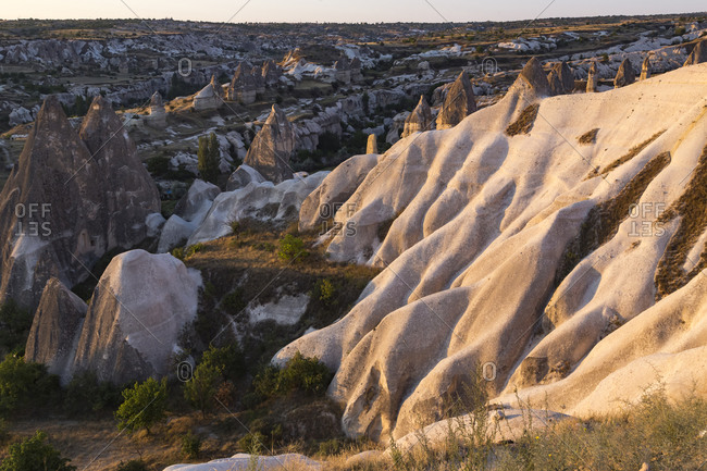 Scenic view of rock formations at Göreme national park- Cappadocia