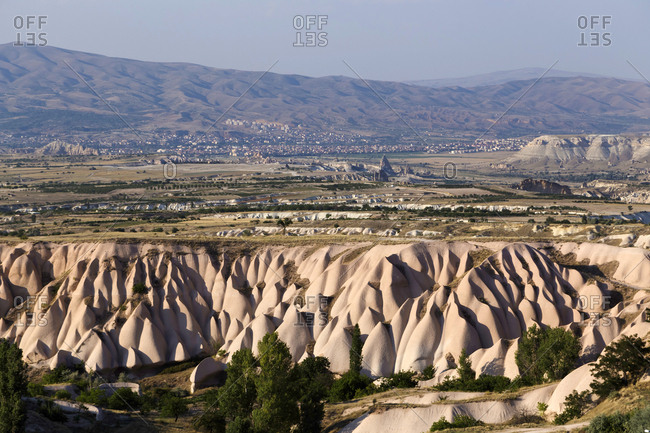 Scenic view of landscape against clear sky during sunny day- Cappadocia- Turkey