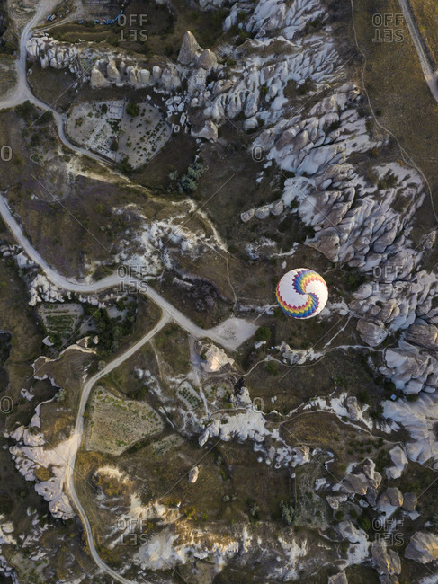 Aerial view of hot air balloon flying at Goreme National Park- Cappadocia- Turkey