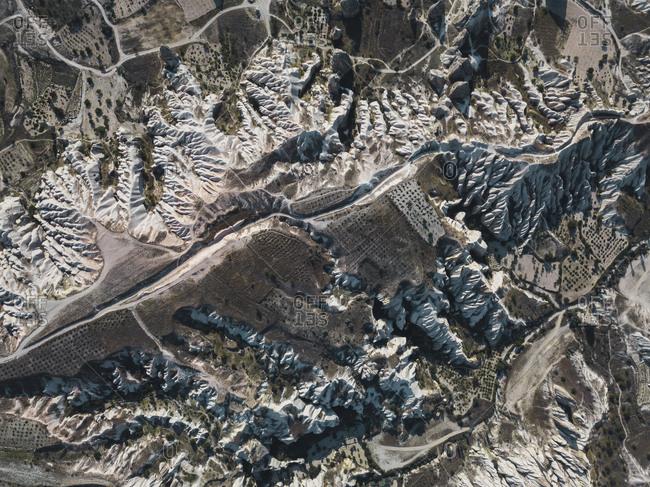 Aerial view of volcanic landscape at Cappadocia- Turkey