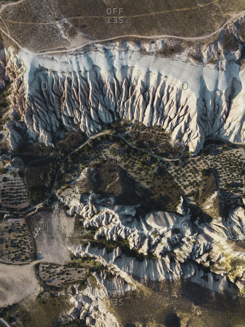 Aerial view of volcanic tuff formations in Cappadocia- Turkey