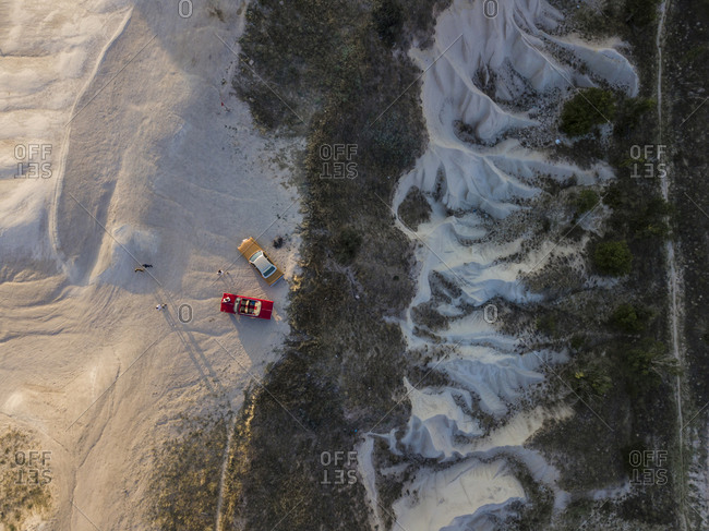 Aerial view of cars on volcanic landscape at Goreme- Cappadocia- Turkey