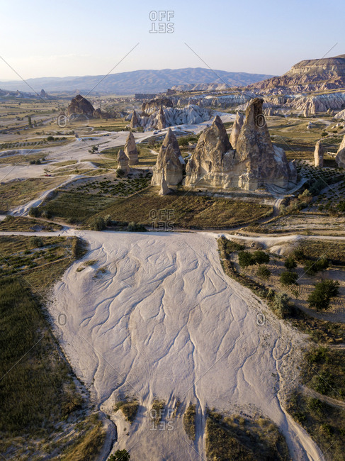 Aerial view of Dove complex monastery against clear sky- Cappadocia- Turkey