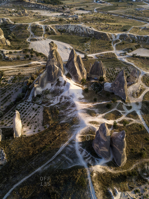 Aerial view of Dove complex monastery at Goreme National Park- Cappadocia- Turkey