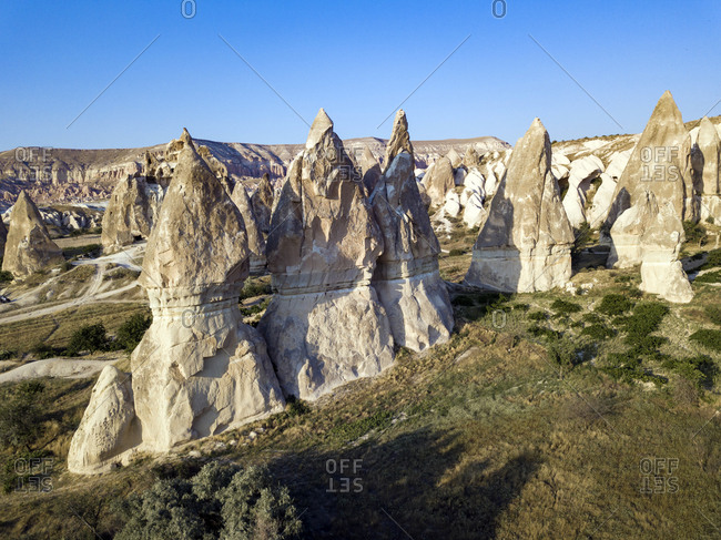 Aerial view of Dove complex monastery against clear blue sky at Goreme National Park- Cappadocia- Turkey