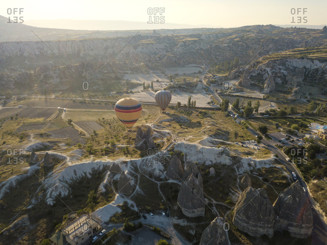 Drone view of hot air balloons flying at Goreme National Park- Cappadocia- Turkey