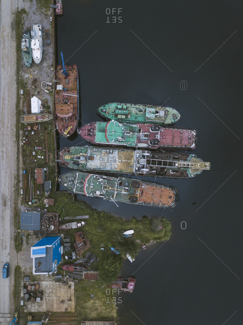Aerial view of ships in Ladoga canal at shipyard- Shlisselburg- Russia