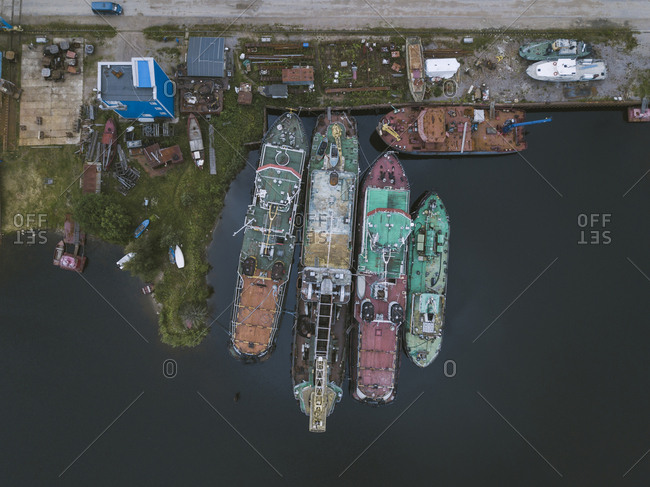 Drone view of ships in Ladoga canal at shipyard- Shlisselburg- Russia