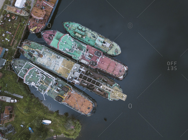 Drone shot of ships in Ladoga canal at shipyard- Shlisselburg- Russia