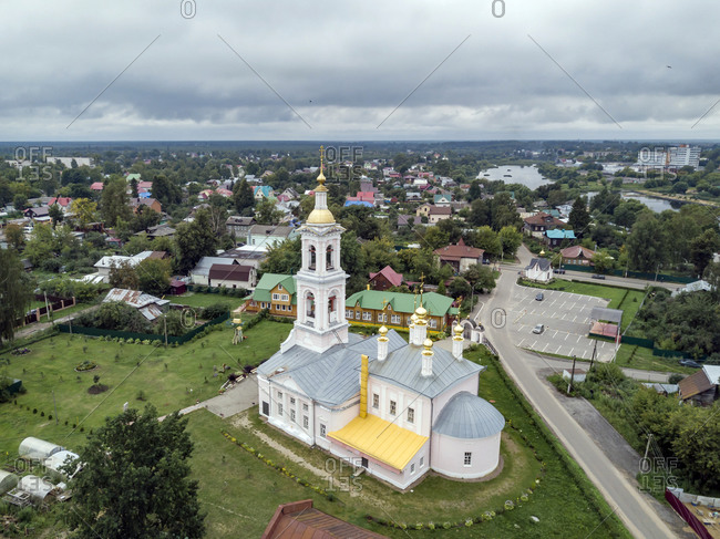 Aerial view of Ascension Church against cloudy sky at Kimry- Moscow- Russia