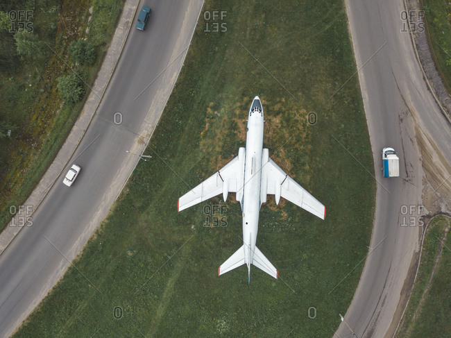 Aerial view of airplane flying over land- Moscow- Russia