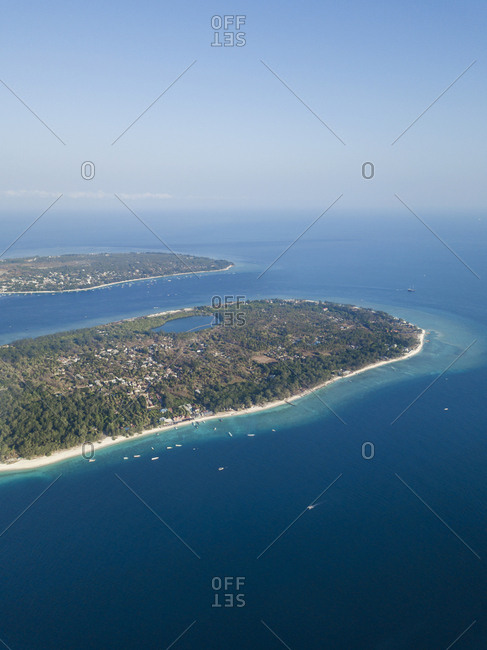 Aerial view of Gili Islands against sky during sunny day in Bali- Indonesia