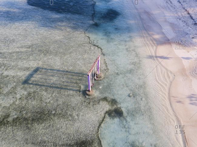 Aerial view of swings in Gili-Air Island at Bali- Indonesia