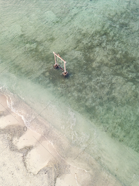 Drone shot of swings in Gili-Air Island at Bali- Indonesia
