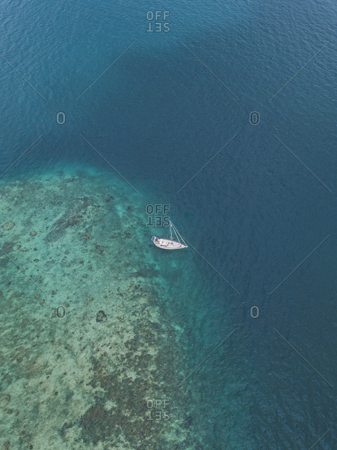 Aerial view of ship at Gili-Air Island in Bali- Indonesia